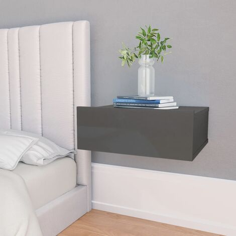 Floating Nightstand 40x30x15cm Chipboard High Gloss Grey