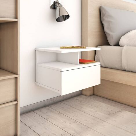 Floating Nightstand White 40x31x27 cm Chipboard
