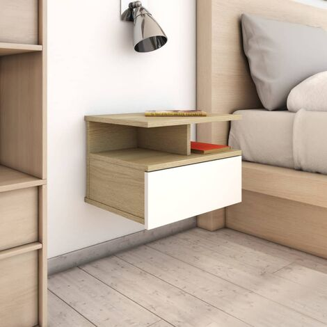 Floating Nightstand White and Sonoma Oak 40x31x27cm Chipboard