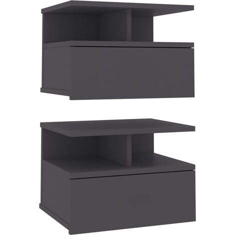 Floating Nightstands 2 pcs Grey 40x31x27cm Chipboard