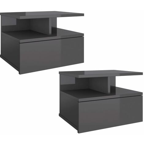 Floating Nightstands 2 pcs High Gloss Grey 40x31x27 cm Chipboard