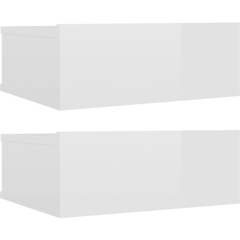 Floating Nightstands 2 pcs High Gloss White 40x30x15 cm Chipboard