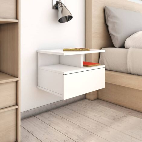 Floating Nightstands 2 pcs High Gloss White 40x31x27 cm Chipboard