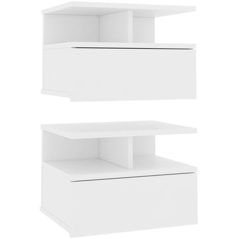 Floating Nightstands 2 pcs White 40x31x27cm Chipboard