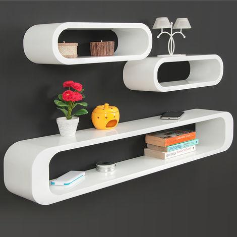Floating Retro Shelves Set Cube High Gloss Livingroom