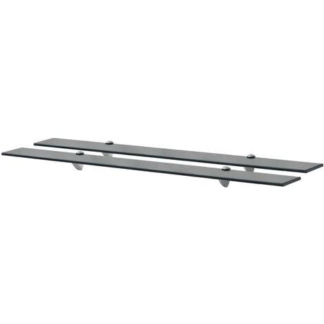 Floating Shelves 2 pcs Glass 100x20 cm 8 mm - Black