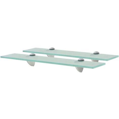 Floating Shelves 2 pcs Glass 50x20 cm 8 mm - Transparent