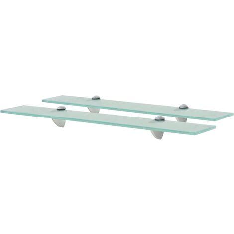 Floating Shelves 2 pcs Glass 60x10 cm 8 mm - Transparent