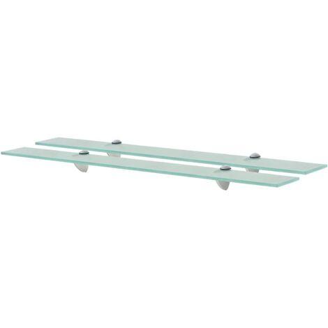 Floating Shelves 2 pcs Glass 80x20 cm 8 mm - Transparent