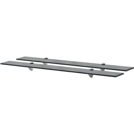 Floating Shelves 2 pcs Glass 90x20 cm 8 mm - Black