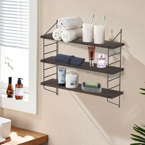 Floating Shelves, Rustic Wall Shelf 60x20.5x80cm, Wall Mounted Book Shelf - Different colours