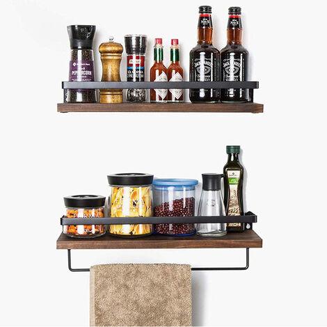 Floating Shelves Set of 2, Wall Mounted Wooden Storage Shelves with Towel Holder for Bathroom Living Room Kitchen, Dark Brown