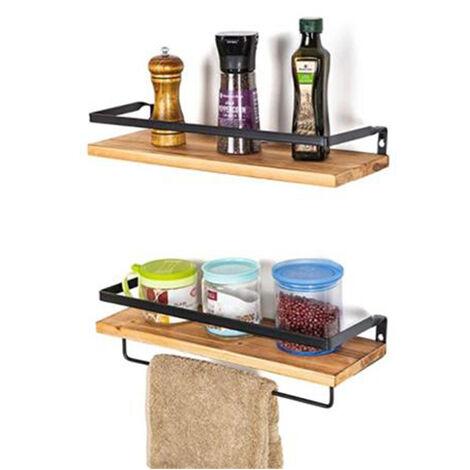 Floating Shelves Set of 2, Wall Mounted Wooden Storage Shelves with Towel Holder for Bathroom Living Room Kitchen, Original Wood
