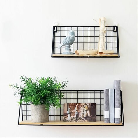 Floating Shelves Wall Mounted Rack Metal Wire Storage Shelf Wall Display Unit for Living Room Office Bedroom Bathroom Kitchen Set of 2 Weight up to 44lbs