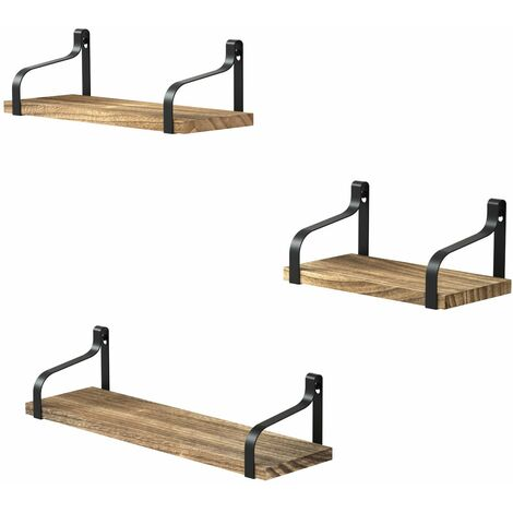 """main image of """"Floating Shelves Wall Mounted Set of 3, Wood Wall Storage Shelves for Bedroom, Living Room, Bathroom, Kitchen and Office"""""""