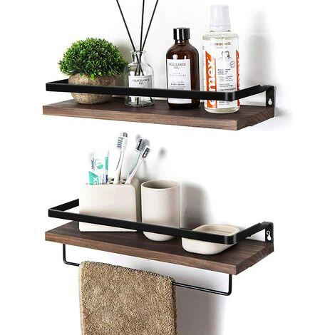 Floating Shelves Wall Mounted Storage Shelves for Kitchen, Bathroom,Set of 2 Brown