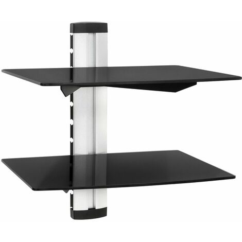 Floating shelves with 2 compartments model 1 - wall shelf, wall mounted shelf, hanging shelf - black