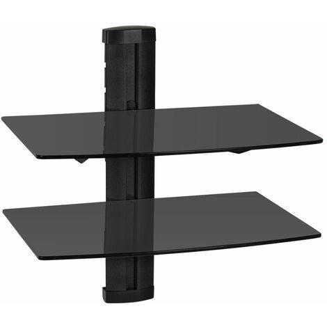 Floating shelves with 2 tiers model 3 - wall shelf, wall mounted shelf, hanging shelf - black