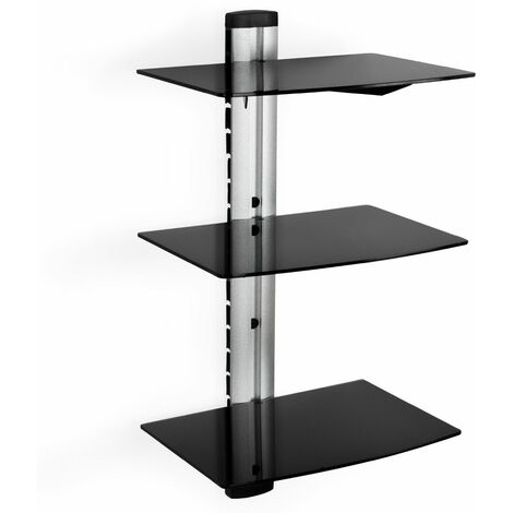 Floating shelves with 3 compartments model 1 - wall shelf, wall mounted shelf, hanging shelf - black