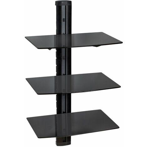 Floating shelves with 3 tiers model 3 - wall shelf, wall mounted shelf, hanging shelf - black - schwarz