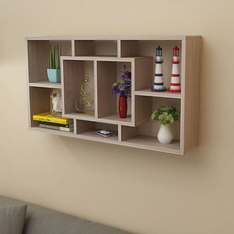 Floating Wall Display Shelf 8 Compartments Oak Colour - Brown