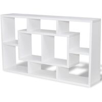 Floating Wall Display Shelf 8 Compartments White