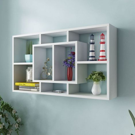 Floating Wall Display Shelf 8 Compartments White VD09342