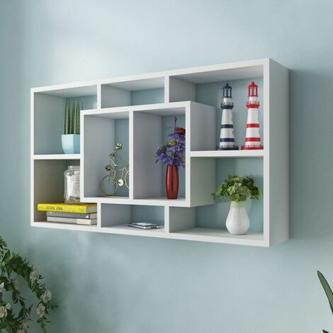 Floating Wall Display Shelf 8 Compartments White VDTD09342