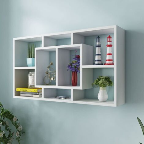 Floating Wall Display Shelf 8 Compartments White - White