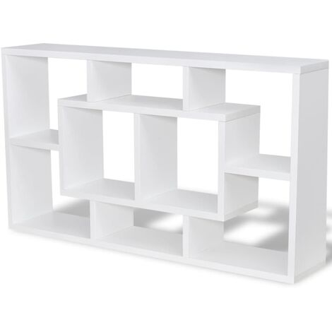 """main image of """"vidaXL Floating Wall Display Shelf Storage Cabinet Rack Stand Unit DVD Glass Hanging Shelf Furniture 8 Compartments Oak Colour/White"""""""