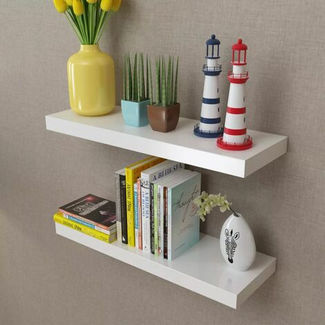Floating Wall Display Shelves Book/DVD Storage White MDF 2 pcs