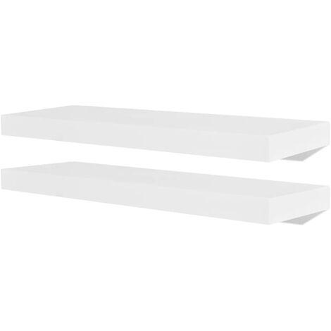 Floating Wall Display Shelves Book/DVD Storage White MDF 2 pcs
