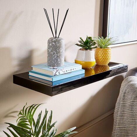 "main image of ""Floating Wall Mounted Storage Shelf Wooden 80cm CD DVD Book Shelves Gloss Black"""