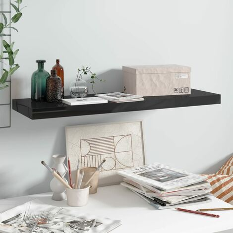 Floating Wall Shelf High Gloss Black 80x23.5x3.8 cm MDF
