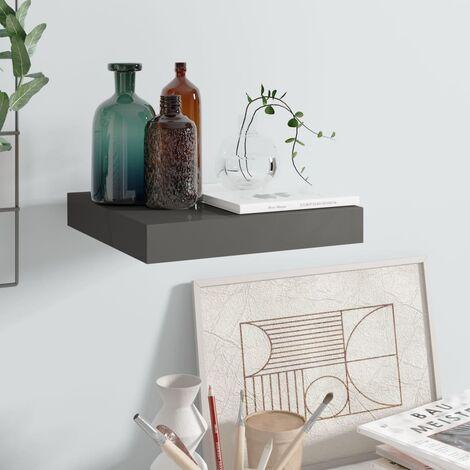 Floating Wall Shelf High Gloss Grey 23x23.5x3.8 cm MDF
