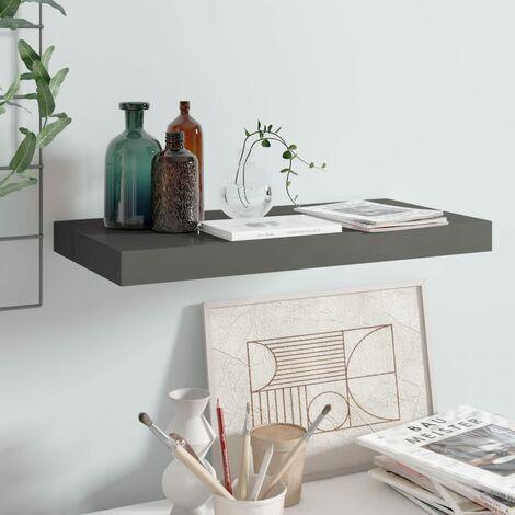 Floating Wall Shelf High Gloss Grey 50x23x3.8 cm MDF