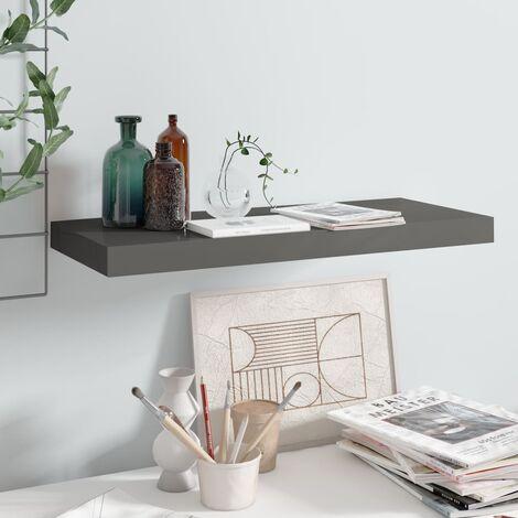 Floating Wall Shelf High Gloss Grey 60x23.5x3.8 cm MDF