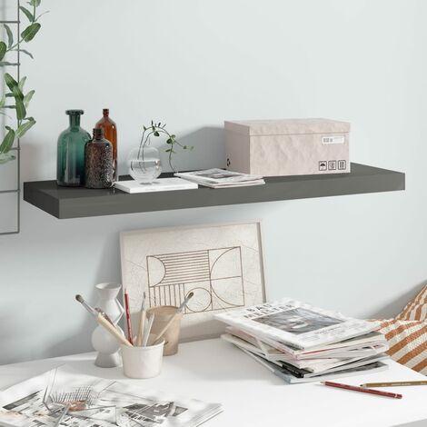 Floating Wall Shelf High Gloss Grey 80x23.5x3.8 cm MDF