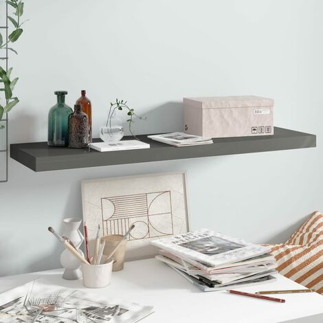 Floating Wall Shelf High Gloss Grey 90x23.5x3.8 cm MDF