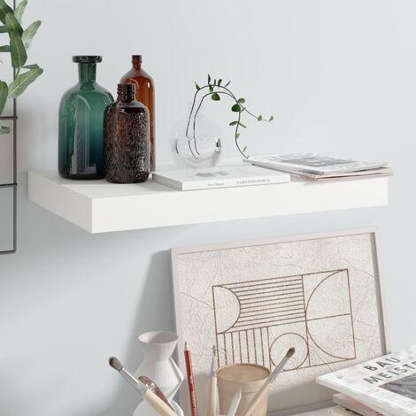 Floating Wall Shelf High Gloss White 40x23x3.8 cm MDF