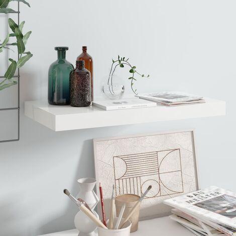 Floating Wall Shelf High Gloss White 50x23x3.8 cm MDF