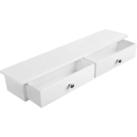 Floating Wall Shelf with 2 Drawers Hallway Storage Shelf MDF White LWS65WT