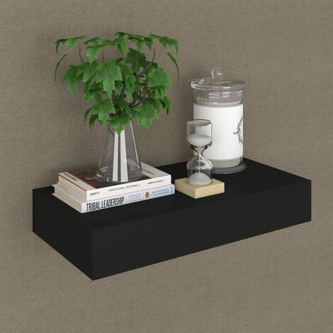 Floating Wall Shelf with Drawer Black 48x25x8 cm