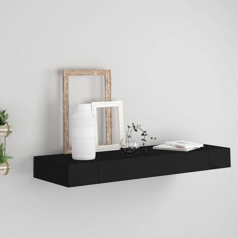 Floating Wall Shelf with Drawer Black 80x25x8 cm - Brown