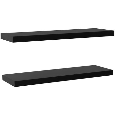 Floating Wall Shelves 2 pcs Black 120x20x3.8 cm
