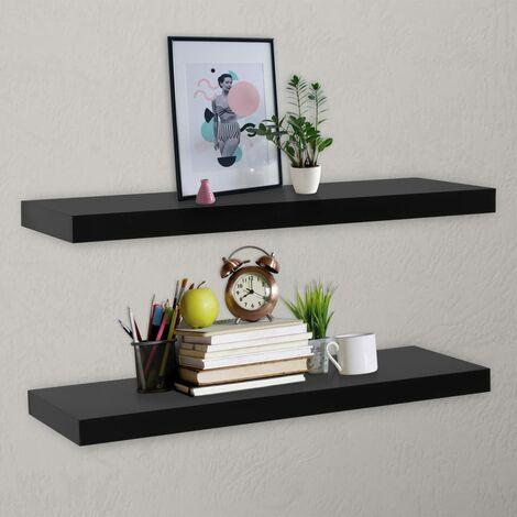Floating Wall Shelves 2 pcs Black 120x20x3.8 cm - Black