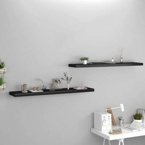 Floating Wall Shelves 2 pcs Black 120x23.5x3.8 cm MDF