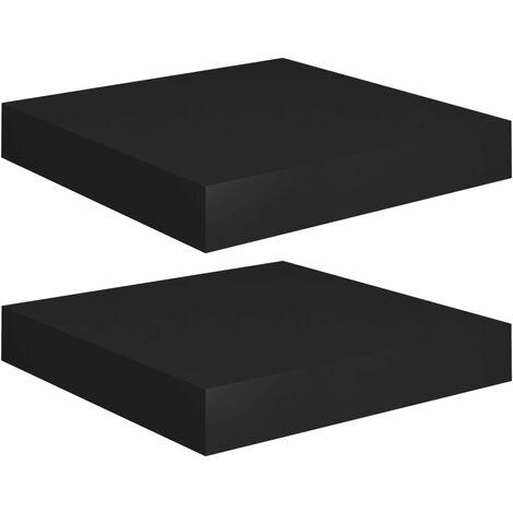 Floating Wall Shelves 2 pcs Black 23x23.5x3.8 cm MDF