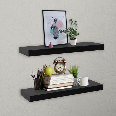 Floating Wall Shelves 2 pcs Black 40x20x3.8 cm