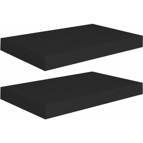 Floating Wall Shelves 2 pcs Black 40x23x3.8 cm MDF